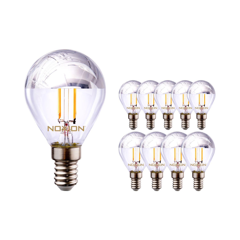 Multipack 10x Noxion Lucent Gloeilamp LED Lustre Zilver Kopspiegel P45 E14 220-240V 4.5W 400LM CRI80 2700K ND (40W eqv)