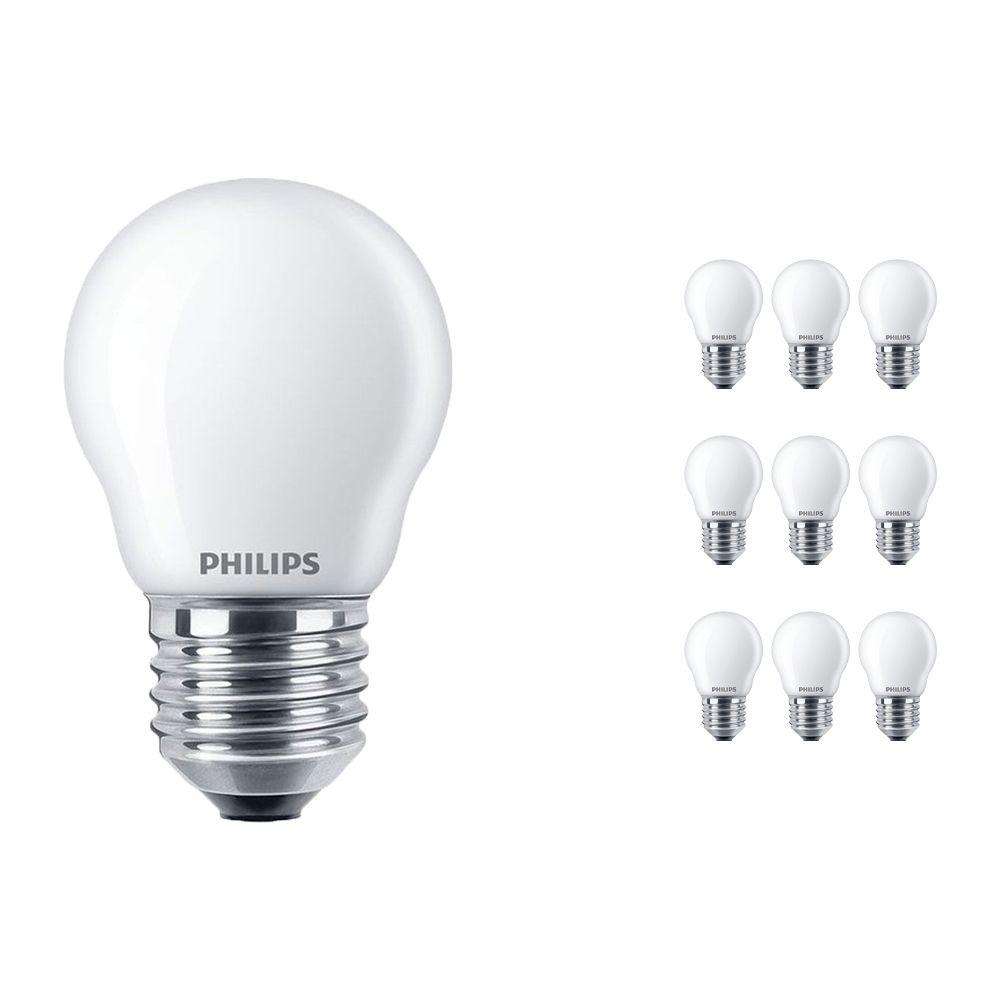 Voordeelpak 10x Philips Classic LEDlustre E27 P45 4.3W 827 Mat | Vervanger voor 40W