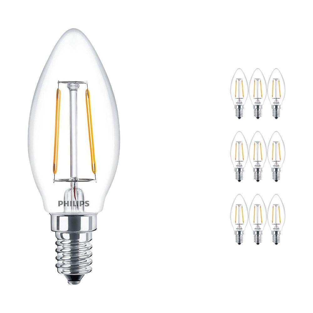 Voordeelpak 10x Philips Classic LEDcandle E14 B35 2.5W 827 Helder | Vervanger voor 25W