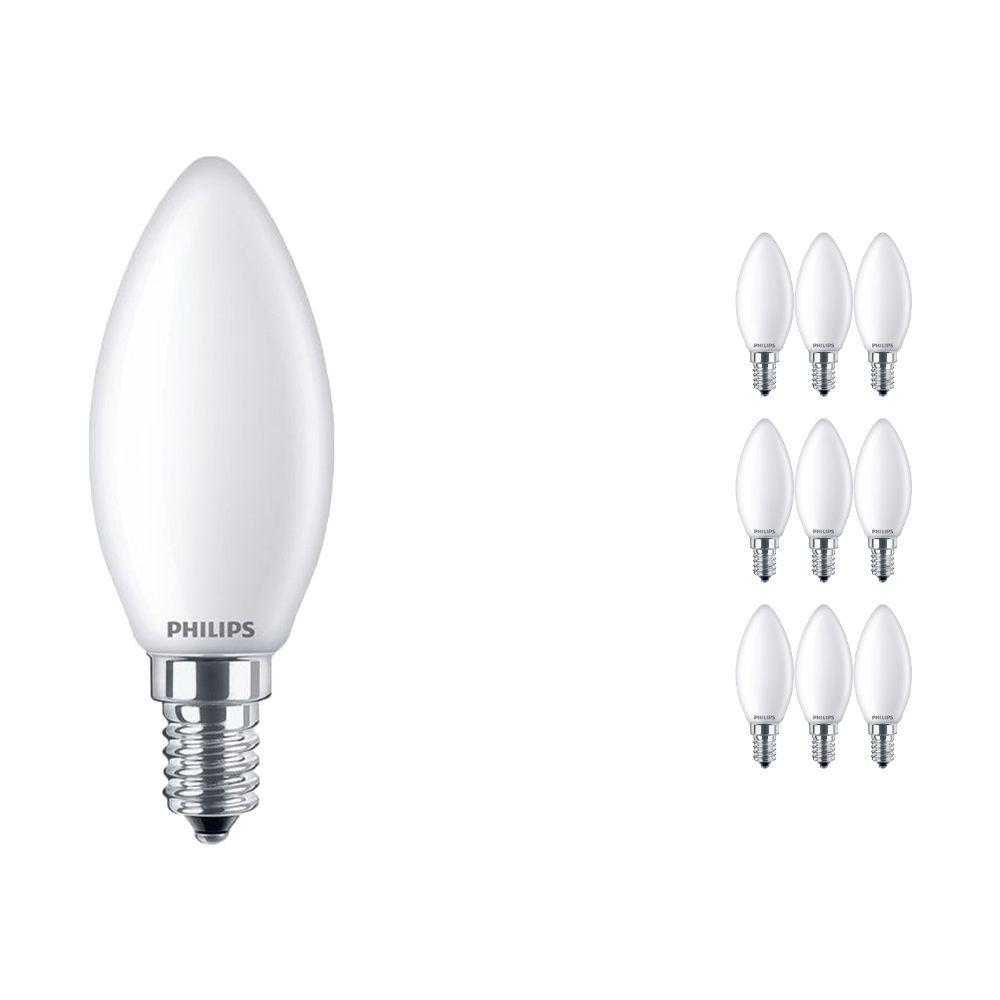 Voordeelpak 10x Philips Klassiek LEDcandle E14 B35 4.3W 827 Mat   Vervangt 40W