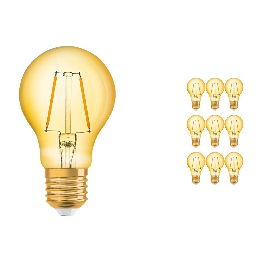 Voordeelpak 10x Osram Vintage 1906 LED Klassiek E27 A 2.5W 824 Filament Goud   Zeer Warm Wit - Vervangt 22W