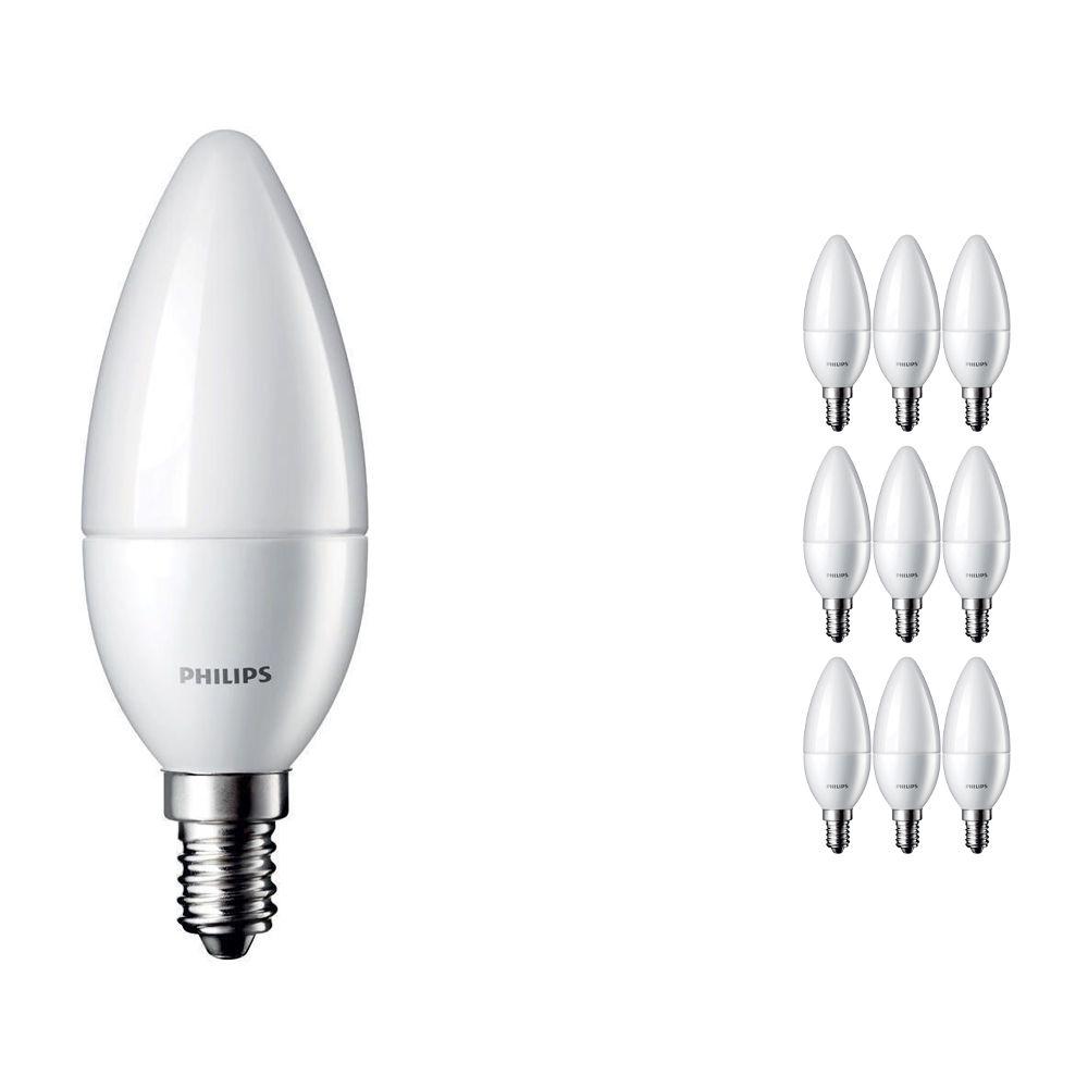 Voordeelpak 10x Philips CorePro LEDcandle E14 B35 5.5W 827 Matt   Vervangt 40W