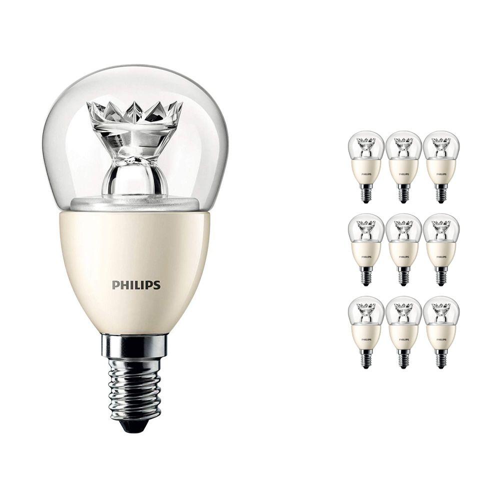 Voordeelpak 10x Philips LEDluster E14 P48 6W 827 Helder (MASTER)   DimTone Dimbaar - Vervanger voor 40W