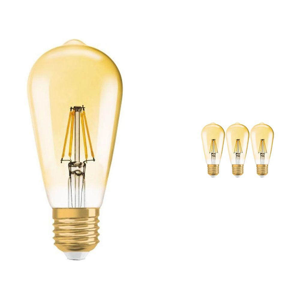 Voordeelpak 4x Osram Vintage 1906 LED E27 Edison 7W 825 Goud   Dimbaar - Vervanger voor 50W