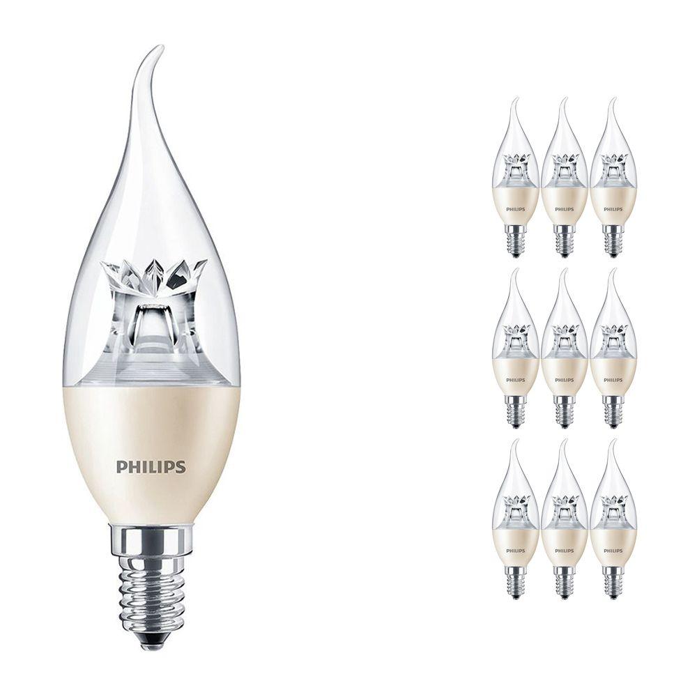 Voordeelpak 10x Philips LEDcandle E14 BA38 6W 827 (MASTER)   DimTone Dimbaar - Vervanger voor 40W