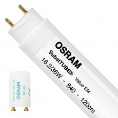 Osram SubstiTUBE Value EM 16.2 840 120cm | Cool White - incl. LED Starter - Replaces 36W