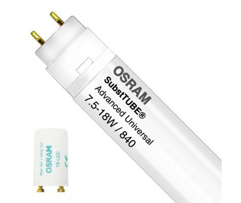 Osram SubstiTUBE Advanced UN 7.5W 840 60cm | Cool White - Incl. LED Starter - Replaces 18W