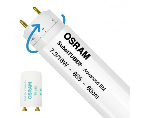 Osram SubstiTUBE Advanced EM 7.3W 865 60cm | Daylight - incl. LED Starter - Replaces 18W - Rotatable