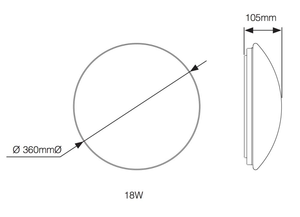 Noxion LED Wandlamp Corido IP44 4000K 18W   met Sensor - Vervangt 2x18W